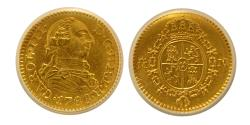 World Coins - SPAIN, Carlos III. 1788-M, M. Gold 1/2 Escudo. Madrid mint. ANACS-AU58.