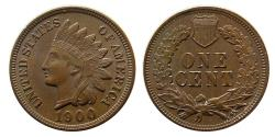 World Coins - UNITED STATES. 1900. Indian Head One Cent.
