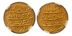 Ancient Coins - INDIA, Mughal Empire. Shah Jahan. 1628-1658. Gold Mohur. NGC MS 64. Surat, Regnal Year 12.