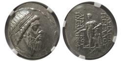 Ancient Coins - PARTHIAN KINGDOM. Mithradates I. Circa 164-132 BC. AR Tetradrachm. NGC Choice AU. Fine Style.