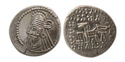 Ancient Coins - KINGS of PARTHIA. Vologases IV. Circa AD. 147-191. AR Drachm. Ekbatana mint.