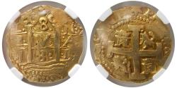 Ancient Coins - PERU. Philip V. 1731L N. Gold 8 Escudos. NGC-AU 53. Lima mint. Lovely example.