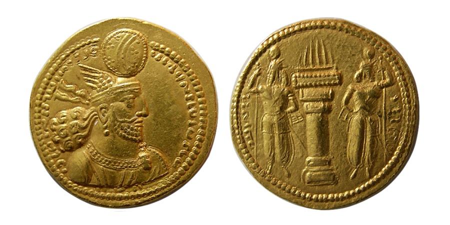 Ancient Coins - SASANIAN KINGS. Varhran (Bahram) II. AD 276-293. Gold Dinar. Very rare hybrid. From The Sunrise Collection.