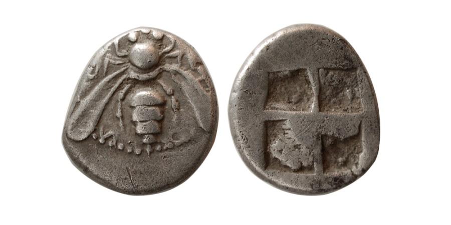 Ancient Coins - IONIA, Ephesus. Circa 500-420 BC. AR Drachm. Early issue. Rare.