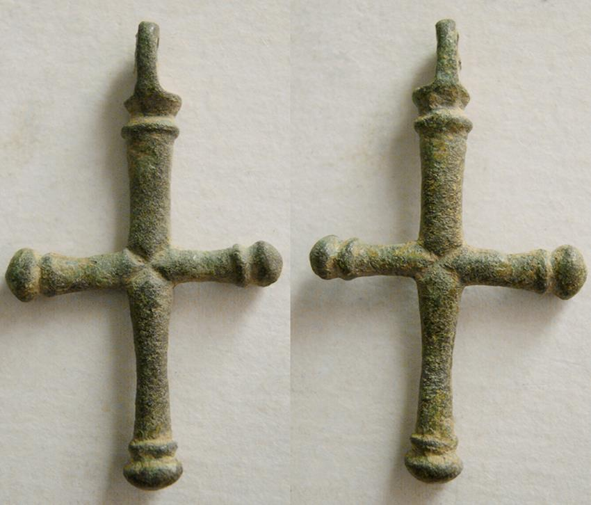 Ancient Coins - BYZANTINE EMPIRE. Ca. 10th-12th Century AD. Bronze Cross.  Excellent condition. Intact.