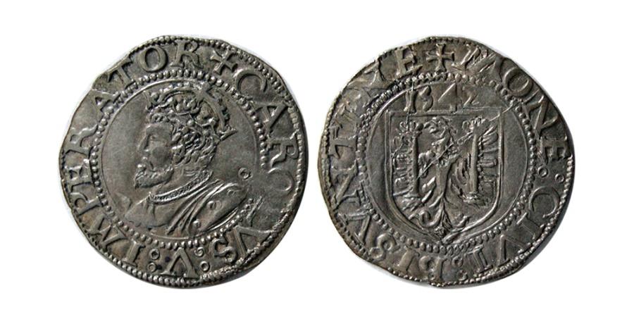 World Coins - BESANCON, Charles V. 1519-1556. AR Carolus.