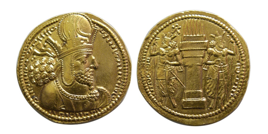 Ancient Coins - SASANIAN KINGS. Shapur I. AD. 240-272. Gold Dinar. Rare variety. From The Sunrise Collection.