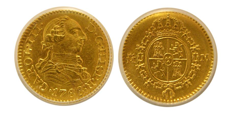 World Coins - SPAIN, Carlos III. 1788-M, M. Gold 1/2 Escudo. Madrid mint. ANACS-AU58.