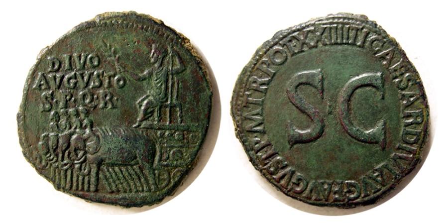 Ancient Coins - ROMAN EMPIRE. Augustus. 27 B.C.- A.D. 14. AE Sestertius. Rare.