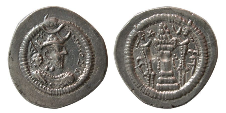 Ancient Coins - SASANIAN KINGS. Peroz. third crown, AD. 457/9-484. Silver Drachm.  From The Sunrise Collection.