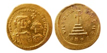 BYZANTINE EMPIRE. Heraclius & Son. 613-638 AD. AV Solidus. Lovely strike. Lustrous.