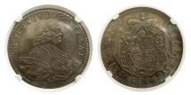 Ancient Coins - AUSTRIA. Salzburg. Sigismund III, Von Schrattenbach 1753-71. Taler, 1762-FMK. NGC AU-58.