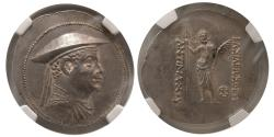 Ancient Coins - GRECO-BACTRIAN KINGDOM. Antimachus I Theos. Ca. 180-165 BC. Silver Tetradrachm.  NGC-AU (Strike 4/5; Surface 3/5).