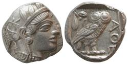 Ancient Coins - ATTICA, Athens. 440-404 BC. AR Tetradrachm. Fully Lustrous. Lightly toned.