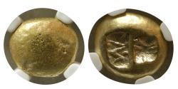 Ancient Coins - IONIA, Uncertain mint. 650-550 BC. Electrum 1/3 Stater- Trite. NGC-VF. Rare.