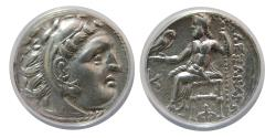 Ancient Coins - KINGS OF MACEDON. Alexander III. 336-323 BC. AR Drachm. Kolophon mint, ANACS-EF 45.