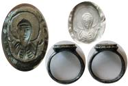 Ancient Coins - BYZANTINE EMPIRE. Ca. 8th.-10th. Century AD. Silver Seal Ring. Rare !