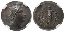 Ancient Coins - KINGS of BITHYNIA. Nicomedes IV. Ca. 94-74 BC. AR Tetradrachm. Year 207. NGC-Choice AU.