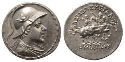 Ancient Coins - KINGS of BAKTRIA. Eukratides I. Circa 171-145 BC. AR Tetradrachm. Wonderful style. Fully Lustrous.