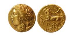 Ancient Coins - SICILY, Syracuse. King Hieron II. 274-216 BC. Gold 60 Litrai or Decadrachm. Elegant style. Lustous.