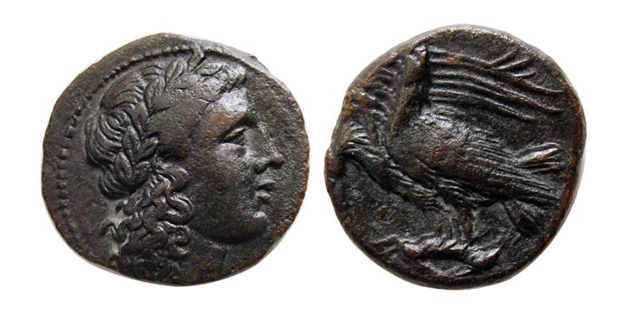 Ancient Coins - SICILY, Akragas. 275-240 BC. Æ 19mm.