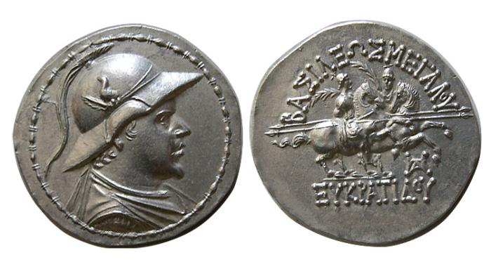 Ancient Coins - KINGS of BAKTRIA. Eukratides I. Circa 171-145 BC. AR Tetradrachm