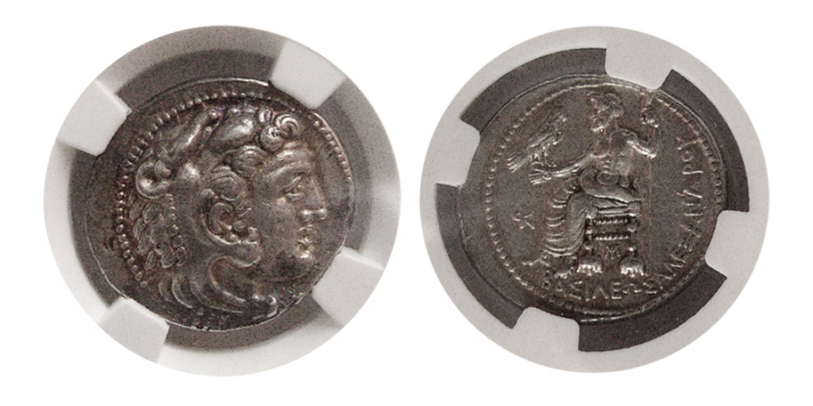 Ancient Coins - KINGS of MACEDON. Alexander III. 336-323 BC. AR Tetradrachm. Lifetime issue. Myriandros. NGC AU.