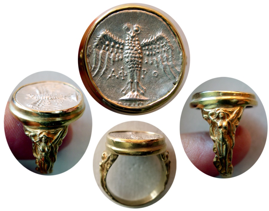 Ancient Coins - PONTOS, Amisos. Late 5th-4th century BC. AR Siglos. Set in a Custom-made 18K. Gold Ring. Ring Size 11.5