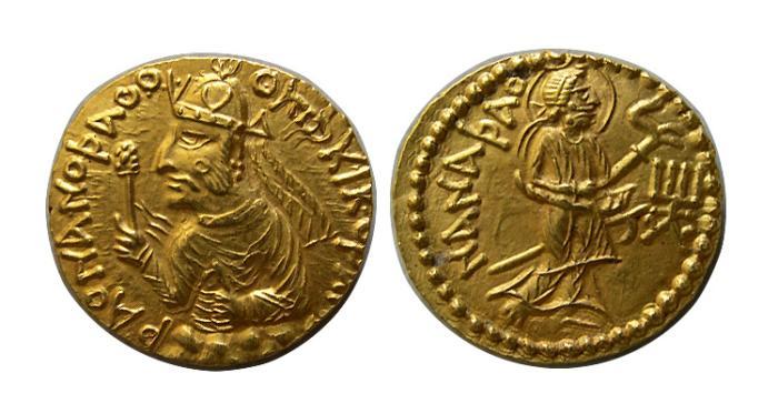 Ancient Coins - INDIA. KUSHAN KINGS. Huvishka. Circa AD 152-192. AV Dinar