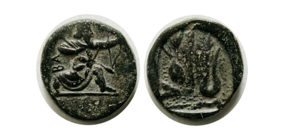 """Ancient Coins - IONIA,  Ephesos(?). Circa 350-340 BC. Æ. Extremely Rare. """"The Earliest Preserved Greek Map"""""""