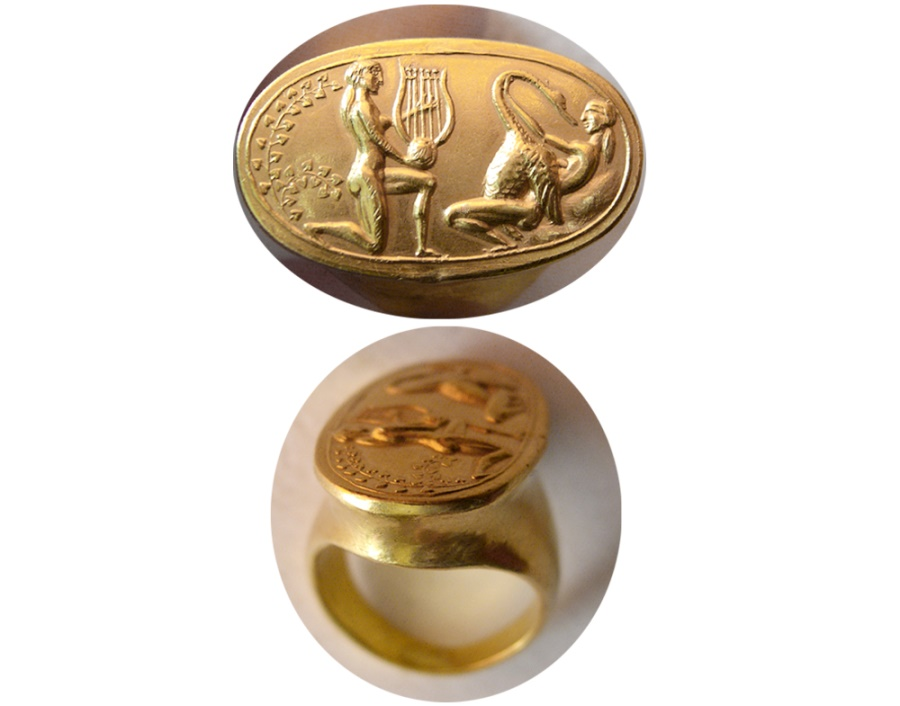 Ancient Coins - Custom made Gold Cameo. Set in a Custom-made 22K. Gold Ring. Ring Size 7.