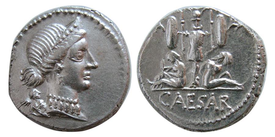 Ancient Coins - ROMAN EMPIRE. Julius Caesar. 46-45 BC. AR Denarius. Travelling Military mint in Spain.