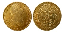 SPAIN- Carlos (Charles) III. 1759-1788. Gold 4 Escudos.  1786-M. Madrid mint. Lovely strike.