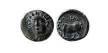 Ancient Coins - SICILY. Abakainon. Circa 420-400 BC. AR Litra.