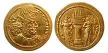 Ancient Coins - SASANIAN KINGS. Shahpur I. 240-272 AD. Gold Dinar. Choice FDC. Fully lustrous.