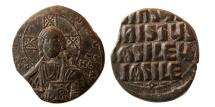 Ancient Coins - BYZANTINE EMPIRE. Anonymous. Time of Basil II. & Constantin VIII. ca. 976-1025 AD. Æ Follis.