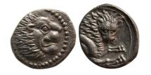 Ancient Coins - CYPRUS, Amathos. Rhoikos. Circa 350 BC. AR Obol. Wonderful example for this rare issue.