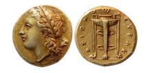 Ancient Coins - SICILY, Syracuse. Agathokles. 317-289 BC. EL 50 Litrai. Elegant style. Choice Superb EF.