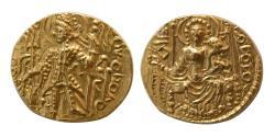 Ancient Coins - INDIA; KUSHAN KINGS. Vasudeva II. Ca. 290-310 AD. Gold Dinar. Choice FDC. Lustrous.