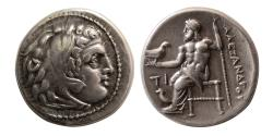 Ancient Coins - KINGS of MACEDON, Alexander III. 336-323 BC. Silver Drachm.  Sardis mint. Struck under Philip III.