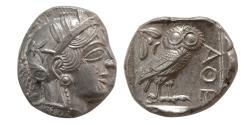 Ancient Coins - ATTICA, Athens. 440-404 BC. Silver Tetradrachm. Choice Mint State. Lustrous.