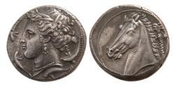 Ancient Coins - SICILY, Siculo-Punic. Circa 320-305 BC. AR Tetradrachm. Superb Style.