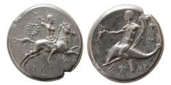 Ancient Coins - CALABRIA. Tarentum. 275-235 BC. AR Nomos.