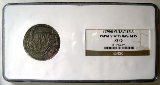 World Coins - VATICAN, Papal  States. (1706) VI, Italy. AR One Pia. NGC Slabbed. XF-40.
