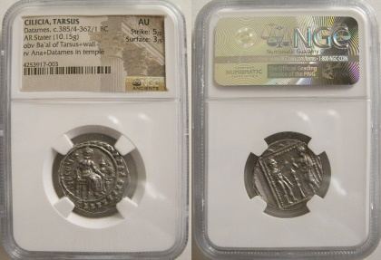 Ancient Coins - CILICIA, Tarsos. Datames. Ca. 385/4-362/1 BC. Silver Stater. NGC AU.