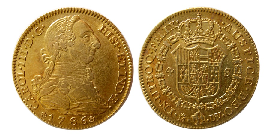 Ancient Coins - SPAIN- Carlos (Charles) III. 1759-1788. Gold 4 Escudos.  1786-M. Madrid mint. Lovely strike.