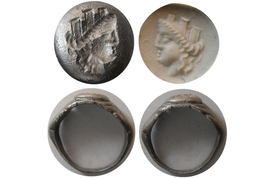 Ancient Coins - ROMAN EMPIRE. Ca. 2nd.- 3rd. Century AD. Silver Seal Ring. Tyche !