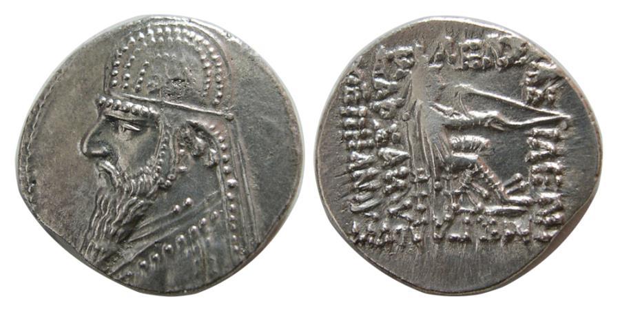 Ancient Coins - PARTHIAN KINGS. Mithradtes II. 121-91 BC. AR Drachm.
