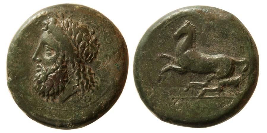 Ancient Coins - SICILY. Syracuse. Timoleon and the Third Democracy, 344-317 BC. AE Dilitron.