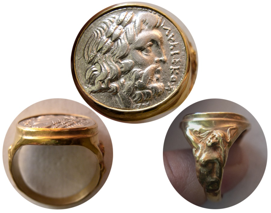 Ancient Coins - EPIROS. 234-168 BC. Silver Drachm. Set in a Custom-made 18K. Gold Ring. Ring Size 11.
